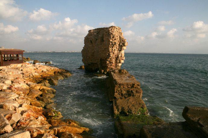 View of Akko's Old Port, Mediterranean Sea, Northern Israel.