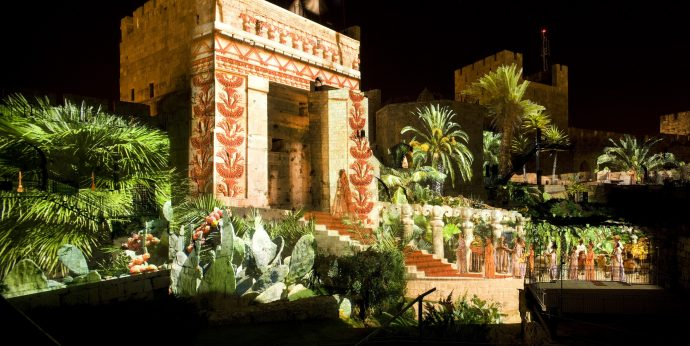The Tower of David's yard is quite romantic at night, when lights gently enhance the structures and vegetation.