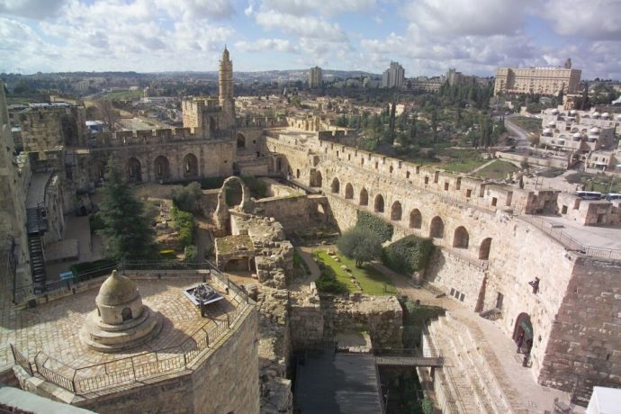 Overview of the Tower of David, Jerusalem from above.