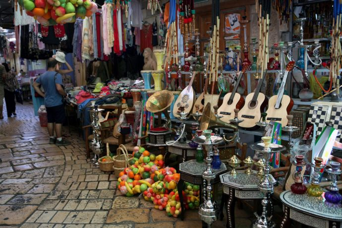 Various music instruments for sale at Akko's old marketplace, or as the local call it, the shuk.