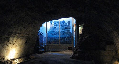 The entry to The Templars' Tunnel in Akko, North Israel