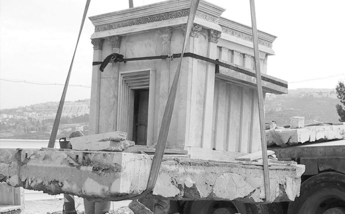 Moving the second temple model to its new home at the Israel Museum.