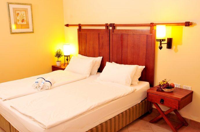 Convenience like home: the rooms at Kibbutz Ein Gedi Hotel.