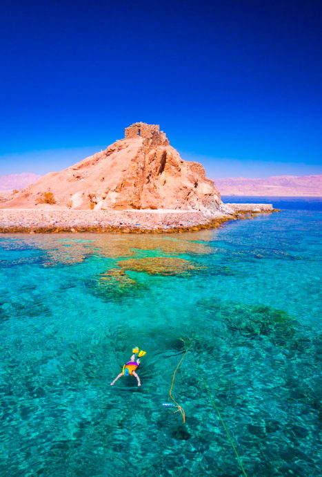 Swimmer in clear water with Aqaba castle in the background