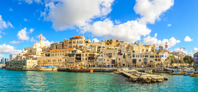 Jaffa port, with clear blue sky in the background