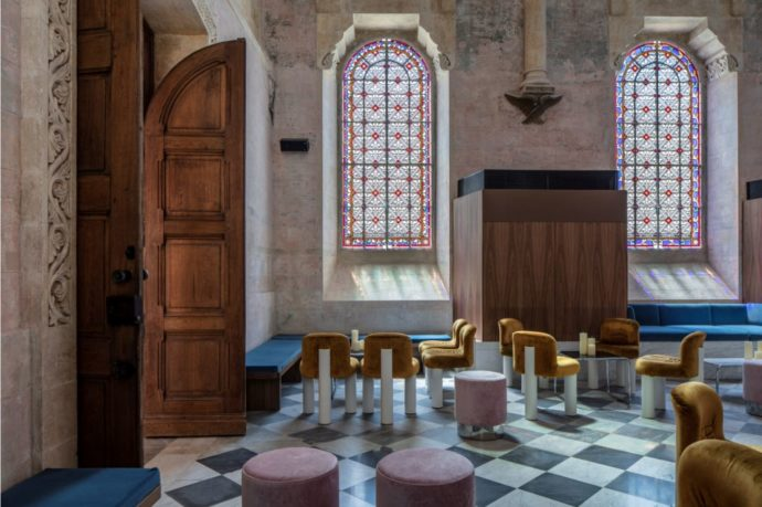 The gorgeous chapel and stained glass windows at The Jaffa.