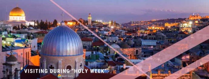 The Holy Sepulchre in Jerusalem at sunset. Don't miss it during Holy Week!