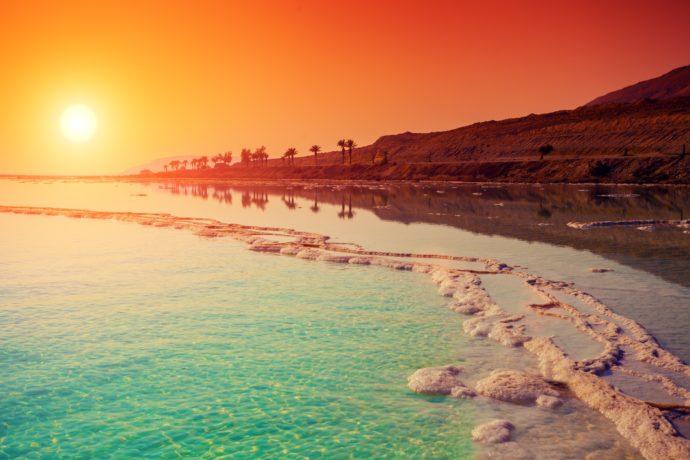 A stunning sunrise over the Dead Sea