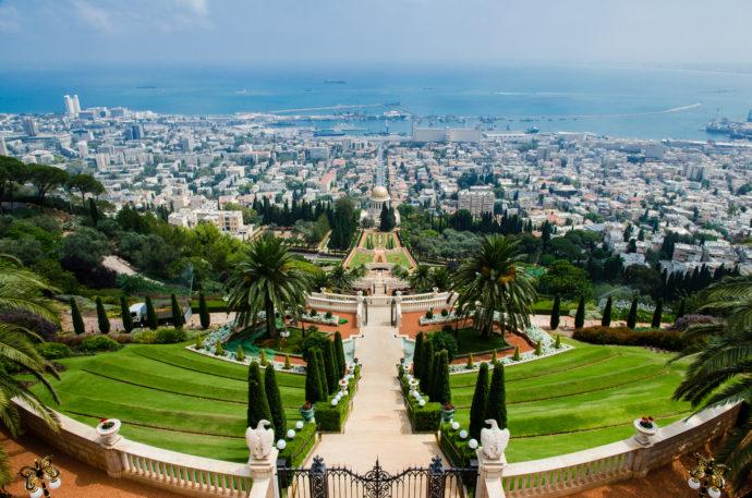 View of the symmetrical Bahai Gardens and Haifa's bay, Mediterranean Sea