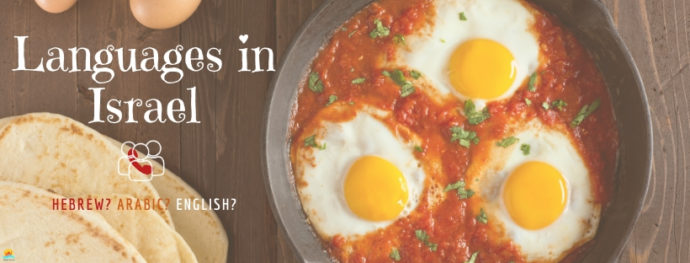 Languages spoke in Israel alongside a popular dish - Shakshuka with pita bread