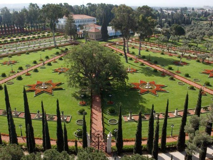 Star shaped flowerbed design at the Bahai Gardens, Haifa