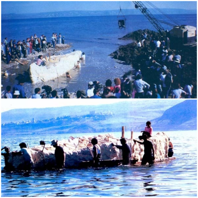 workers-removing-jesus-boat-from-sea-of-galilee