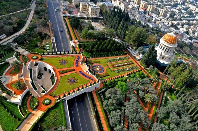 Aerial view of the main section of the beautiful Bahai Gardens, Haifa, Israel