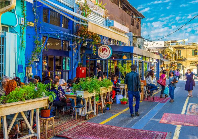 restaurant street scene in jaffa israel