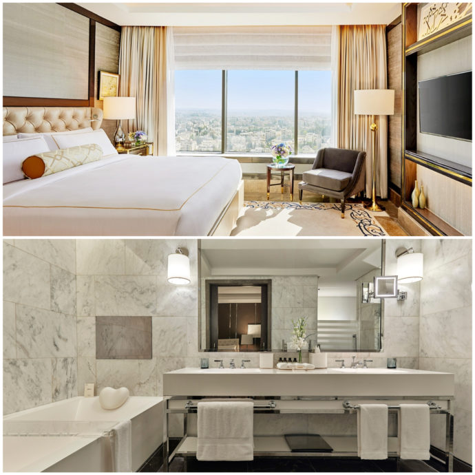 photo of hotel room and bathroom at fairmont amman