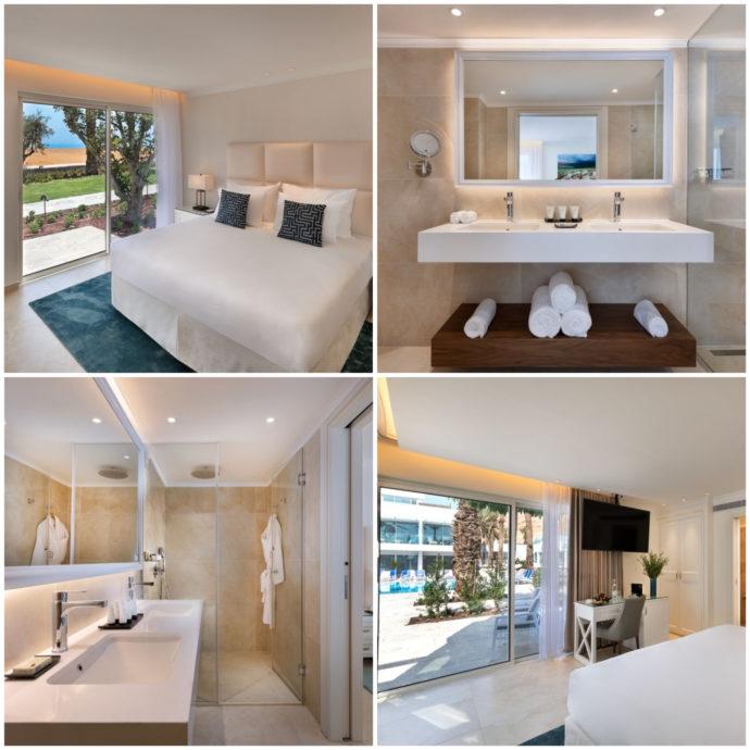 rooms and bathrooms at milos dead sea hotel