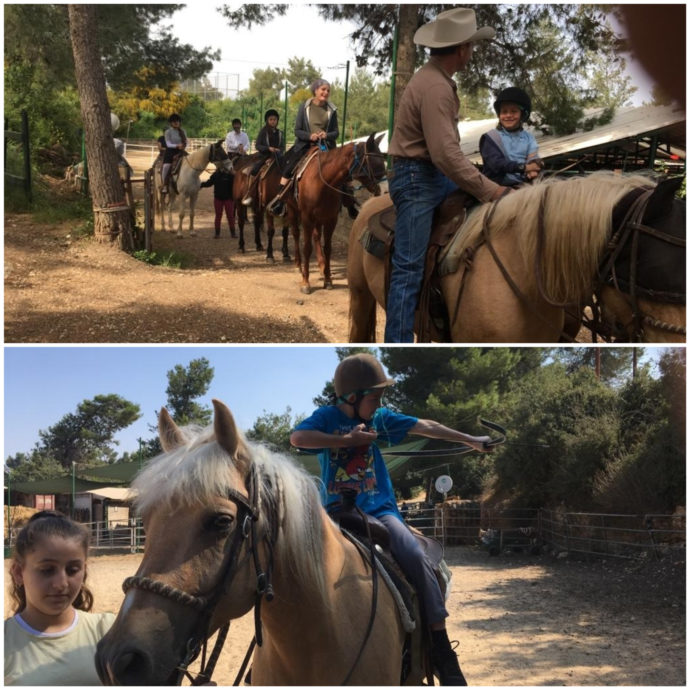 families riding horses at king david stables