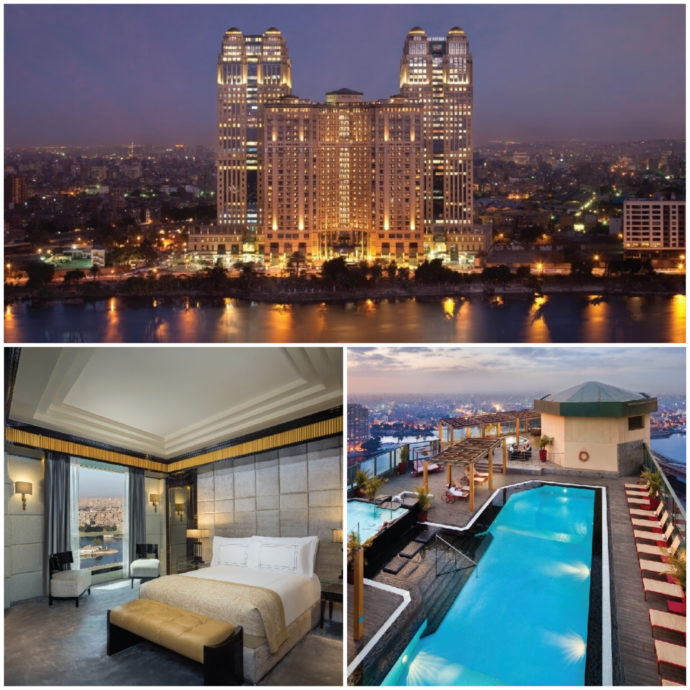 Fairmont Nile City Hotel in Cairo is a luxurious hotels with decorated rooms and a pool on the roof, overlooking the river.